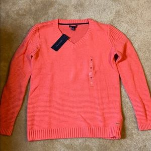 NWT! Tommy Hilfiger coral v-neck sweater!